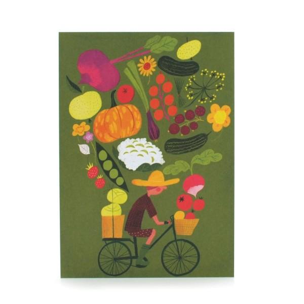 Postkarte Radelnder Gärtner