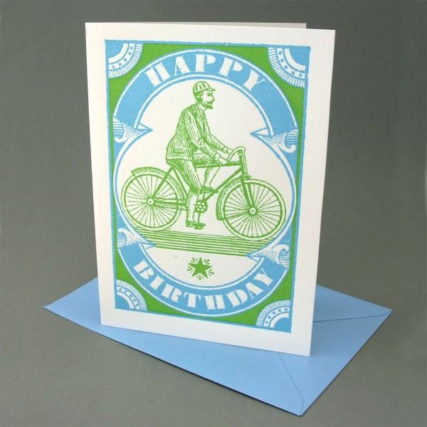 Klappkarte / Letterpress Fahrradfahrer