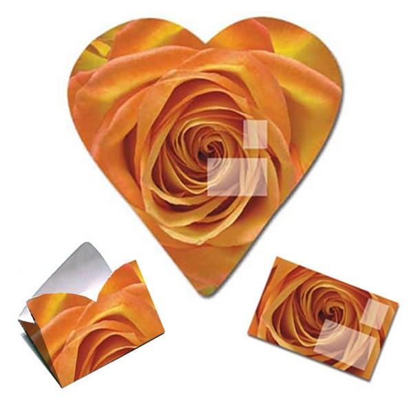 Faltbrief orange farbene Rose - Faltbriefbogen aus Papier komplett Set Ansicht Innenseite und gefaltet