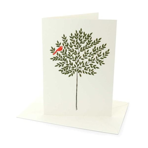 Klappkarte Baum mit rotem Vogel von Eloise Hall