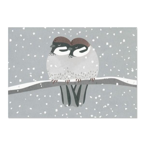 Postkarte Spatzen im Schnee