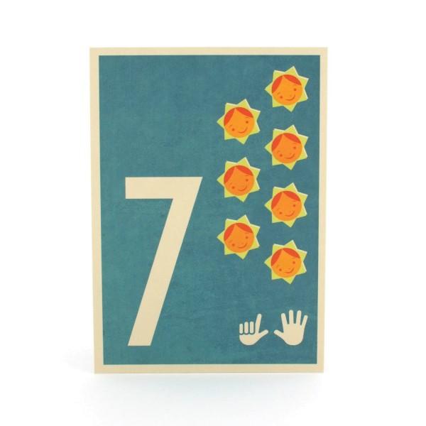 Zahlen-Postkarte 7