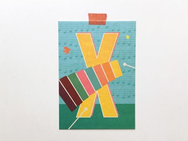 Buchstaben-Postkarte X