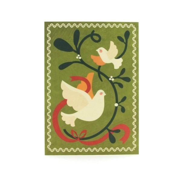 Postkarte Mistelzweig mit Vögeln