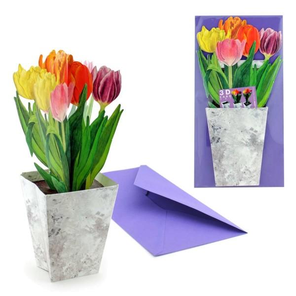 Valentinskarte Tulpenstrauß - 3D Grußkarte Valentinstag mit Briefumschlag