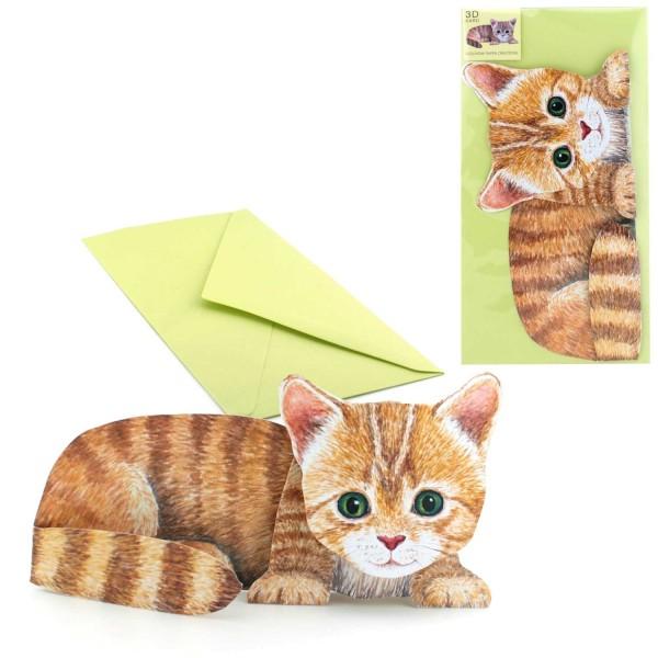 Einladung Kindergeburtstag Kätzchen - 3D Karte mit DIN lang Couvert