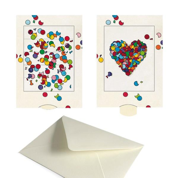 Grusskarte Konfetti-Herz - Schiebekarte Liebesgrüße Karten-Set mit Couvert