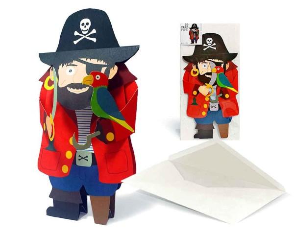 Karte Partyeinladung 3D Pirat - Komplett Set mit Einladungskarte und Briefumschlag