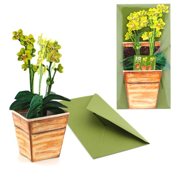 Grußkarte Valentinstag - Valentinskarte 3D Orchidee für Valentinsgrüße mit Briefumschlag