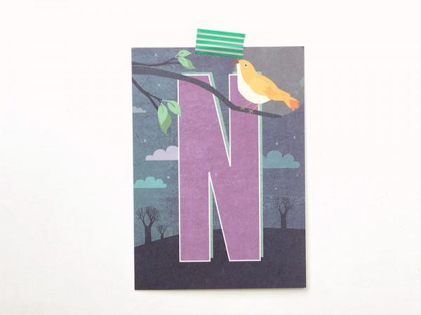 Buchstaben-Postkarte N