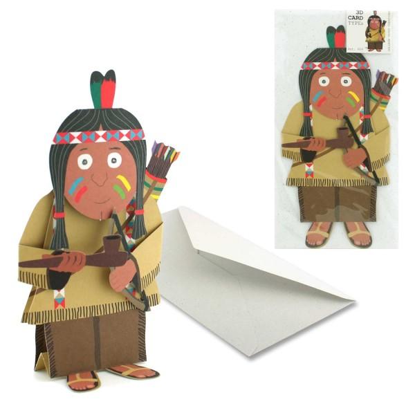 Karte Indianer - 3D Figuren Grußkarte Set mit Couvert