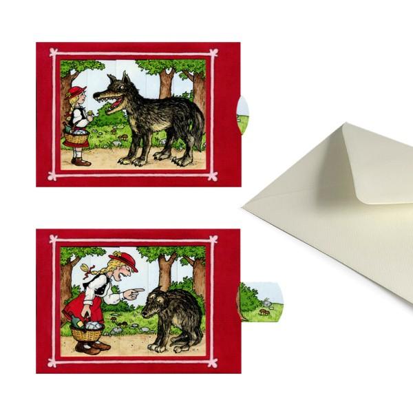 Grußkarte Rotkäppchen - Schiebekarte Märchenmotiv mit Briefumschlag