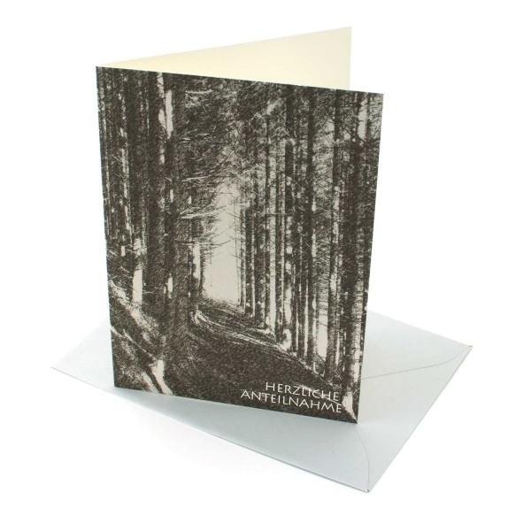 Trauerkarte Waldweg, Kondolenzkarte