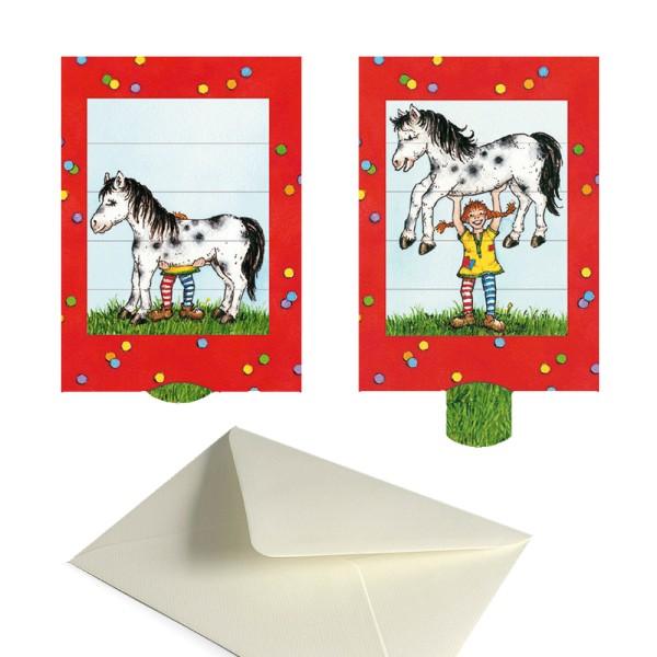 Einladungskarte Starke Lotta - Schiebekarte Komplett-Set mit Briefumschlag