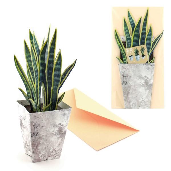Blumenmotivkarte Sanseverie - 3D Grusskarte komplett mit Briefumschlag