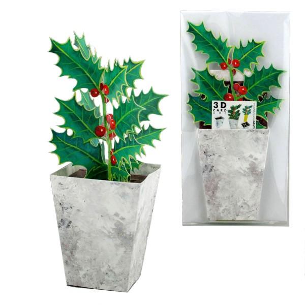 Grußkarte Weihnachten Ilex - 3D Blumenmotiv Winter