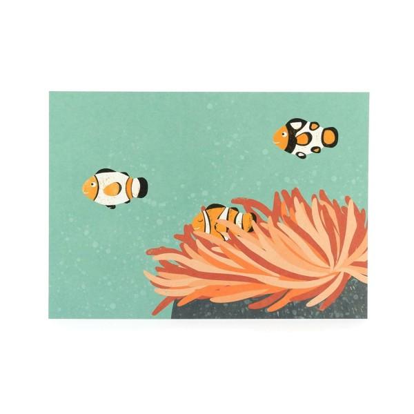 Postkarte Clownfische-Illustration