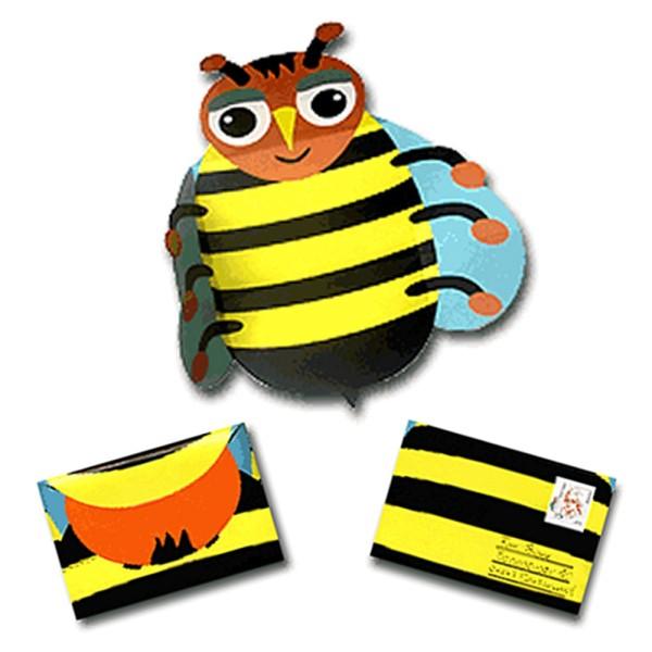 Faltbrief Biene - Faltbriefbogen aus Papier komplett Set Ansicht Innenseite und gefaltet
