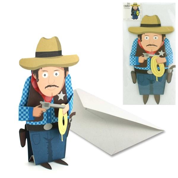 Einladungskarte Cowboy 3D - Einladung Mottoparty