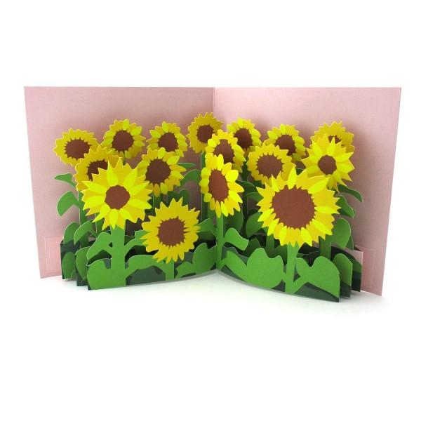 Pop-up-Karte mit vielen Sonnenblumen