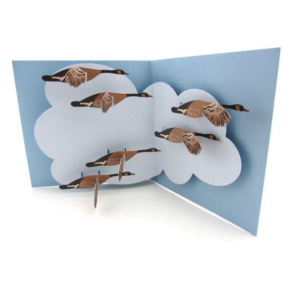 Pop up Karte mit Gänsen im Flug