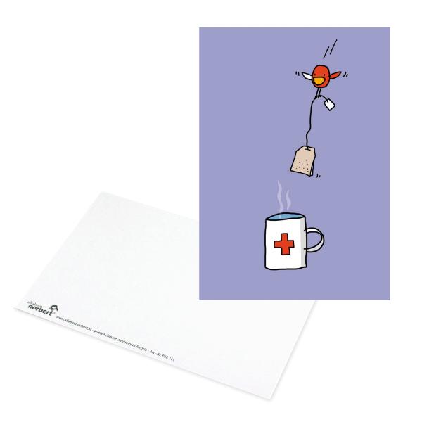 Postkarte Erste Hilfe - Genesungswünsche Ansicht Vorderseite und Rückseite