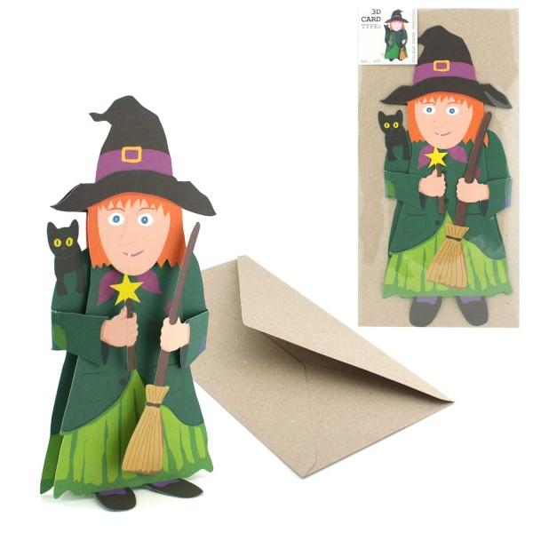 Grußkarte Hexe - 3D Faltkarte Märchenmotiv - komplett-Set mit Couvert