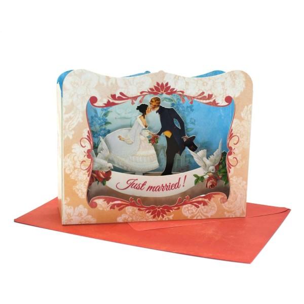 """Dankeskarte Hochzeit """"Just married"""" kaufen - Diorama Pop-up-Karte"""