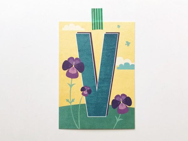 Buchstaben-Postkarte V