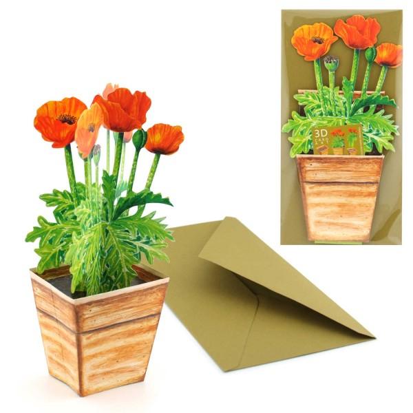 Grusskarte Mohn-Blume im Topf - 3D Blumenmotiv Karte Set mit Couvert