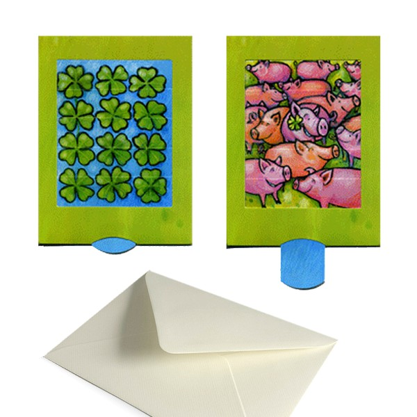 Glückwunschkarte Klee - Lebende Grußkarte Komplett-Set inklusive Kuvert