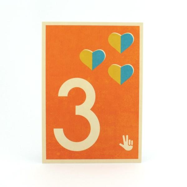 Zahlen-Postkarte 3
