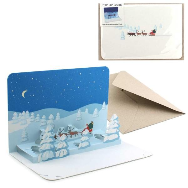 Weihnachtskarte Santa Claus - Pop-Up Karte Winterlandschaft Set mit Couvert