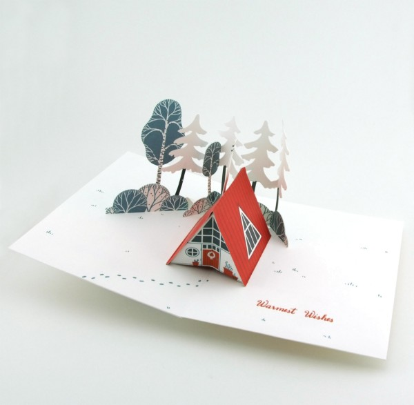 Pop-up-Karte Winterlandschaft mit Haus