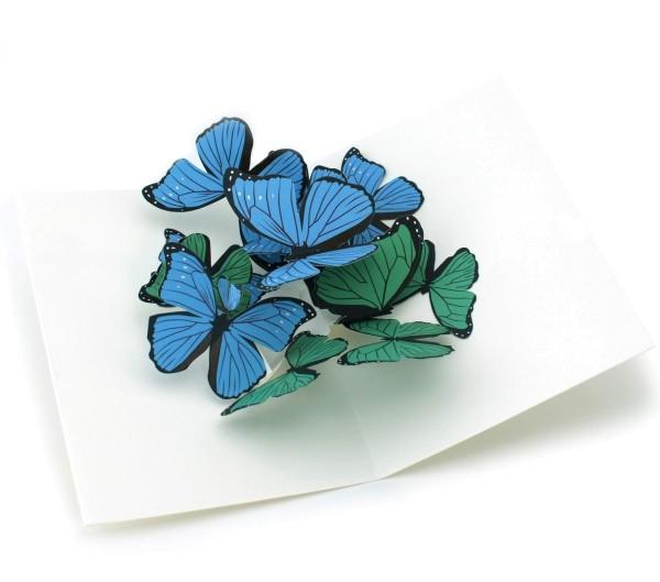 """Pop-up-Karte """"Blaue und grüne Schmetterlinge"""""""