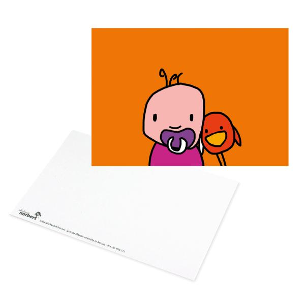 Postkarte Baby Schnuller - Grußkarte Geburt Ansicht Vorderseite und Rückseite