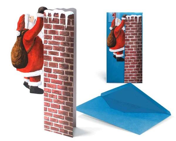 Weihnachtskarte 3D Nikolaus am Schornstein - Ansicht Komplett mit Couvert und Grußkarte