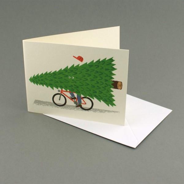 Weihnachtskarte Tannenbaum auf Fahrrad, Lisa Jones