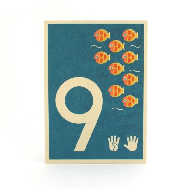 Zahlen-Postkarte 9
