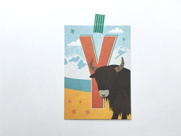 Buchstaben-Postkarte Y
