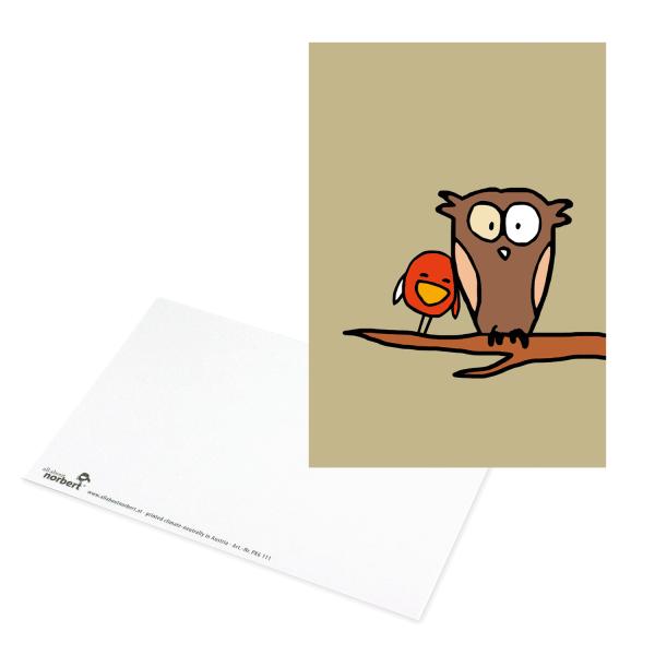 Postkarte Eule auf Ast - Grusskarte Liebe Ansicht Vorderseite und Rückseite