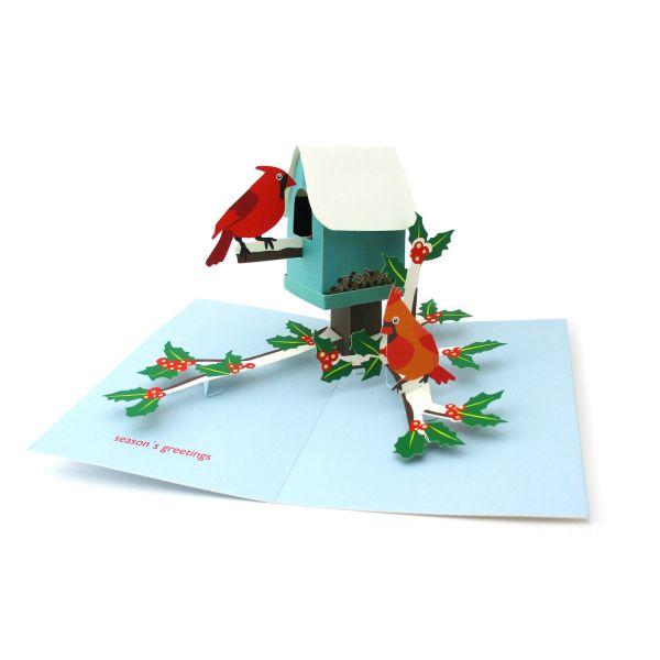 Pop-up-Karte Weihnachtliches Vogelhaus