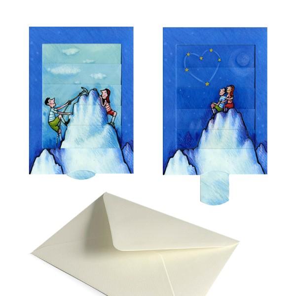 Hochzeitseinladung Gipfelstürmer - Schiebekarte Hochzeitskarte Karten-Set inkl. Versandtasche
