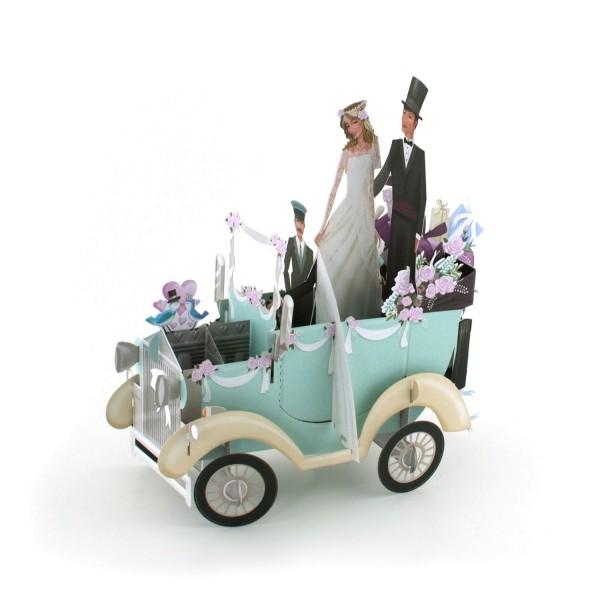 """Popup-Karte """"Hochzeitsauto"""""""