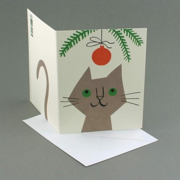 Weihnachtskarte Katze mit Weihnachtskugel