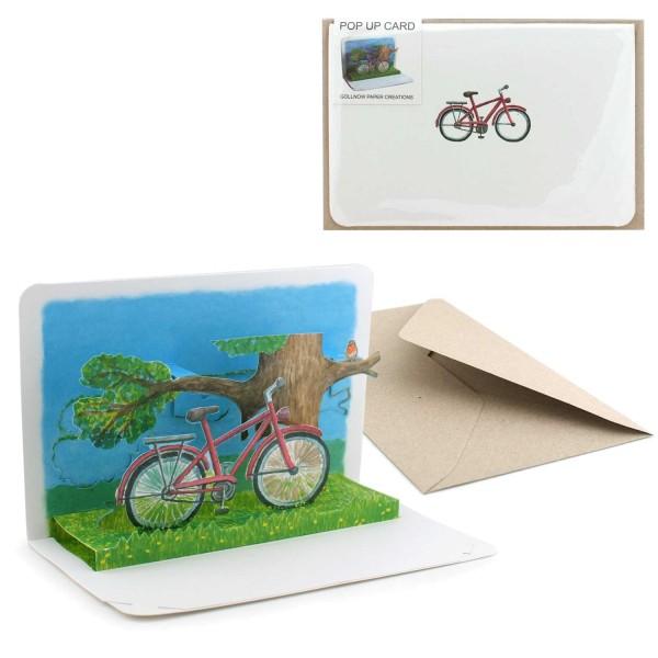 Pop-Up Karte Fahrrad - Faltkarte Grusskarten-Set mit Briefumschlag