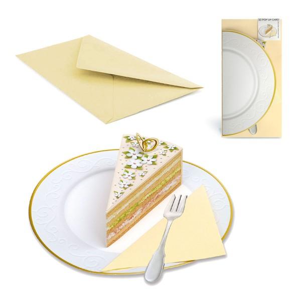 Pop Up Karte Hochzeit Tortenstück P02- Hochzeitseinladung Set mit Couvert