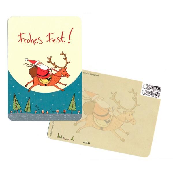 """Weihnachtskarte """"Nikolaus auf Rentier"""""""