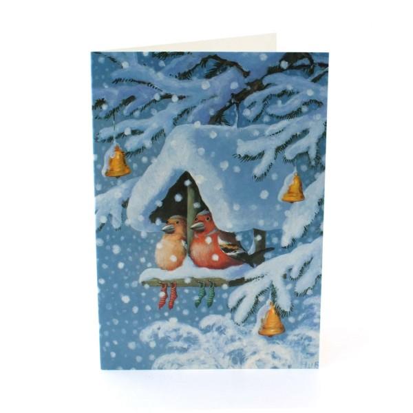 Weihnachtskarte Vogelhäuschen