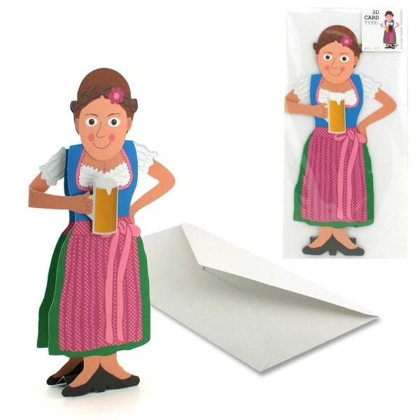 Grußkarte 3D Bayerin in Tracht - Faltkarte Set mit Couvert
